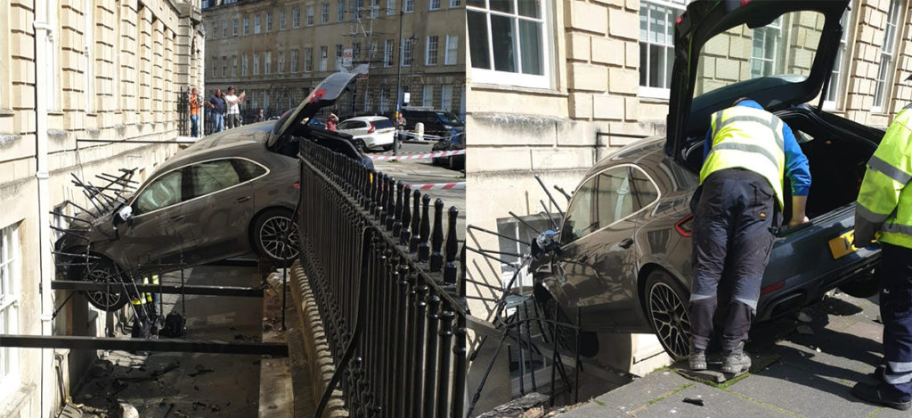 Porsche crashes through railings into kitchen window in Bath