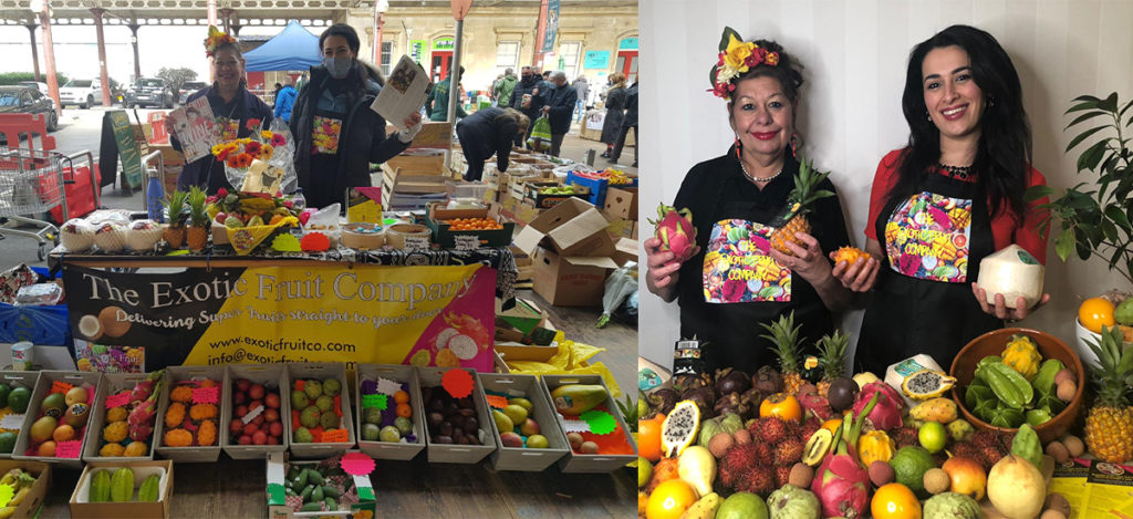 Becky and Alison Levy Selling Exotic Fruits in Bath.