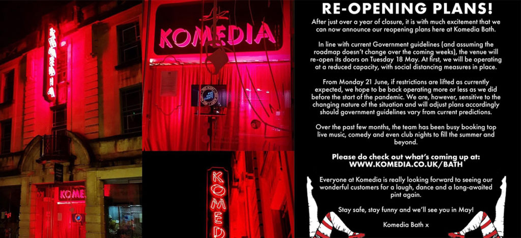 Komedia set to reopen the week of May 17th